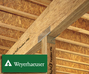 TrusJoist Parallam PSL By Weyerhaeuser: Features: U2022 Beams, Columns U0026  Headers U2022 Engineered To Support Heavy Loads U0026 Span Long Distances